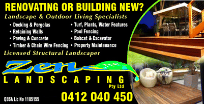 Zen Landscaping for Fencing, Decks, Retaining Walls, Turf and Landscaping. Zen landscaping is also a Agent for OZ Logs Concrete Retaining, Landscape and Decking Products. Renovating or Building Zen Landscaping for Decking & Pergolas, Retaining Walls, Paving & Concrete, Timber & Chain Wire Fencing, Turf, Plants, Water Features, Pool Fencing, Bobcat & Excavator work and Property Maintenance.